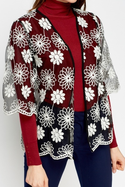 Crochet Flower Mesh Cardigan