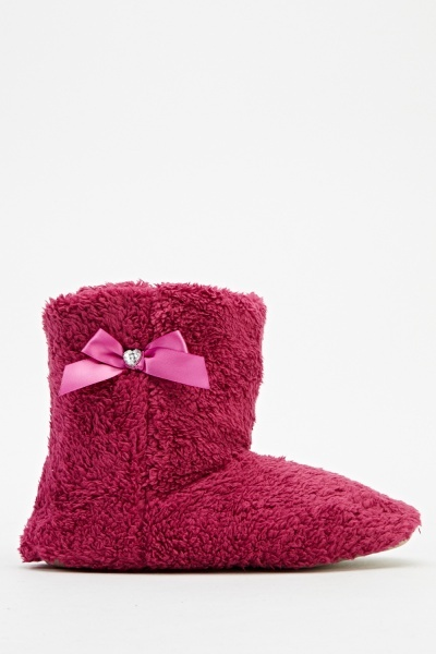 Image of Encrusted Bow Faux Fur Slipper Boots