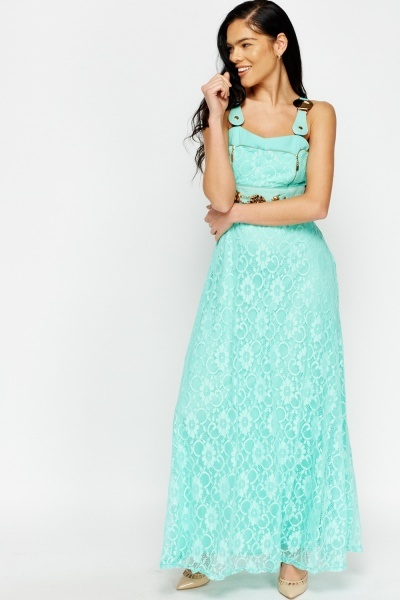 Detailed Lace Overlay Maxi Dress