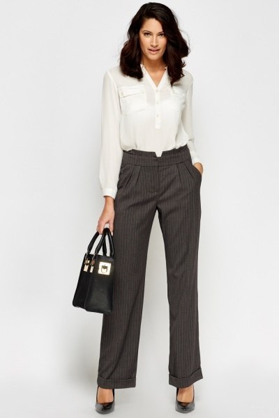 Pinstripe Grey Formal Trousers