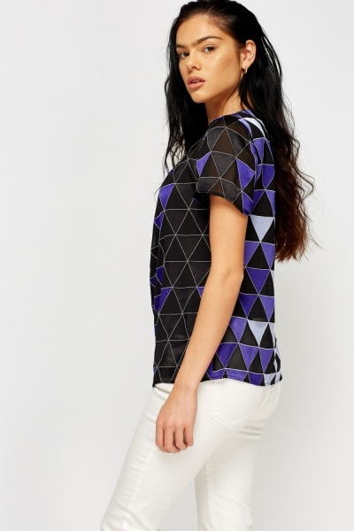 Violet Triangle Printed Top