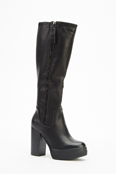 Zip Side Faux Leather Knee High Boots