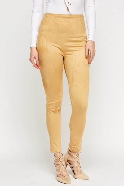 Apricot Suedette High Waisted Leggings