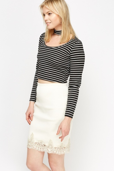 Black Striped Choker Crop Top