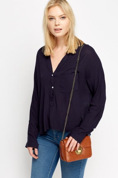 Button Up Dip Hem Top