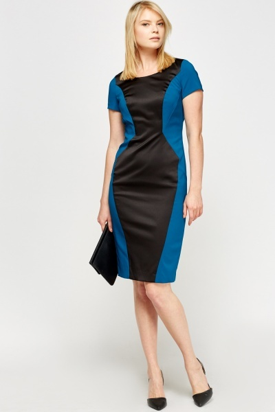 Contrast Silky Insert Pencil Dress