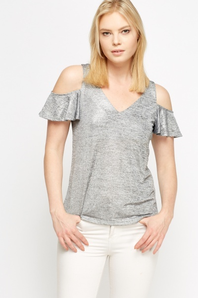 Image of Grey Metallic Cold Shoulder Top