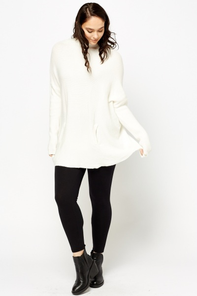 High Neck Knitted Long Sweater
