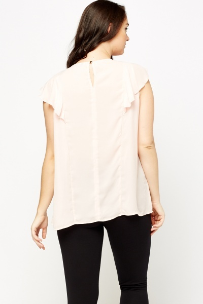 Light Peach Frilled Panel Top
