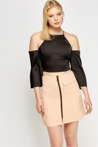 Sateen Cold Shoulder Crop Top