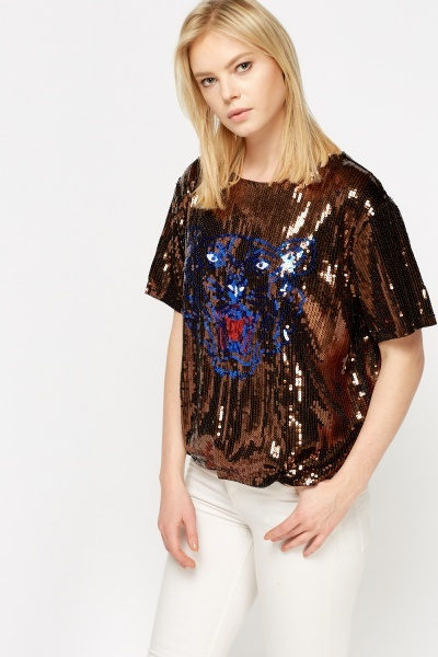 Sequin Tiger Box Top