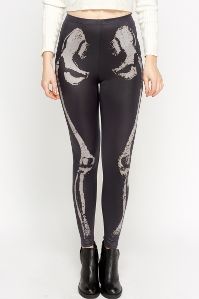 Skeleton Faux Leather Leggings