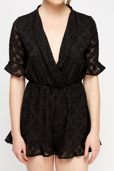 Textured Wrap Playsuit