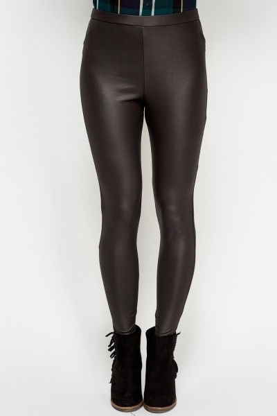 Charcoal Faux Leather Leggings