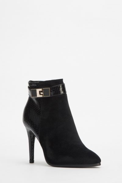 Contrast Heeled Court Ankle Boots