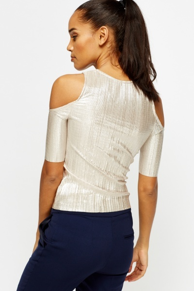 Champagne Plated Cold Shoulder Top