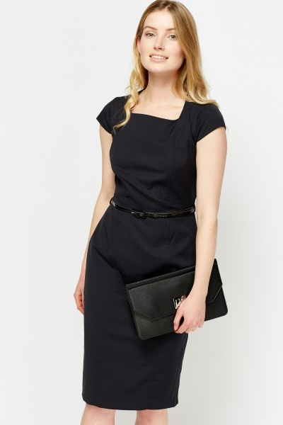 Formal Belted Pencil Dress