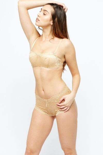 Lace Overlay Bra And Brazilian Brief Set