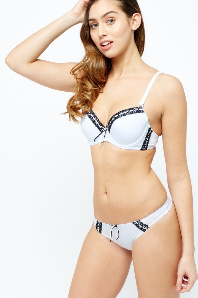 Striped Lace Bra And Brief Set