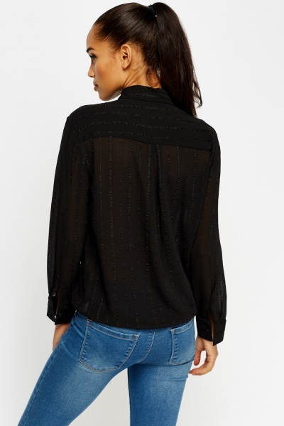 Textured Black Sheer Blouse