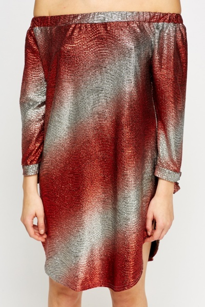 Off Shoulder Metallic Round Dress