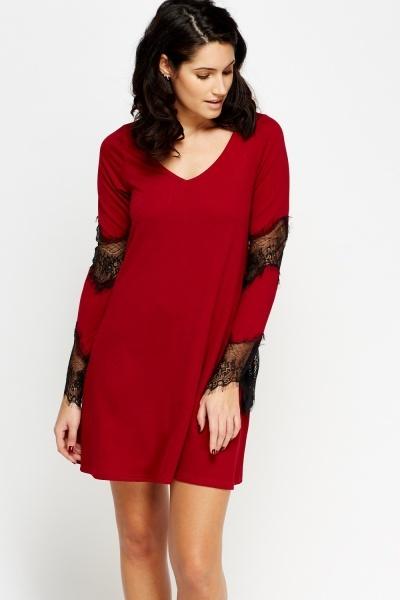 Mesh Insert Sleeve Mini Dress
