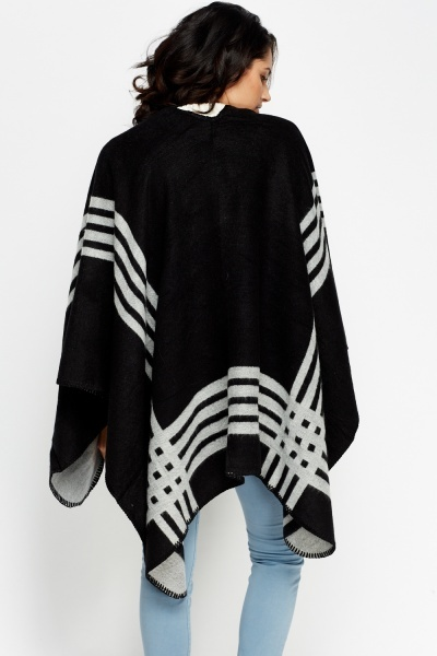 Stripe Poncho Cover Up