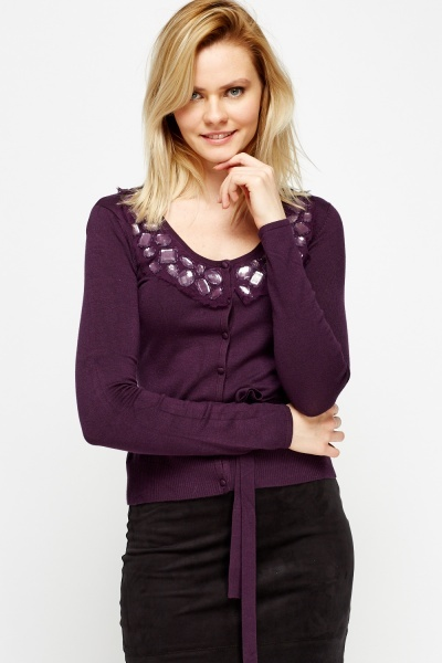Embellished Neck Cardigan