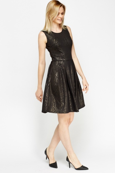 Metallic Wooden Effect Skater Dress