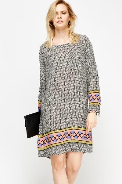 Image of Mixed Print Tunic Dress