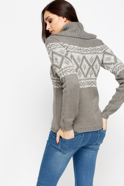 Printed Roll Neck Jumper