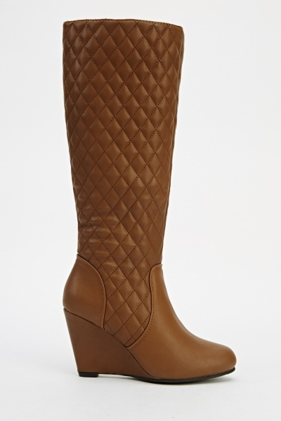 Quilted Knee High Wedge Boots