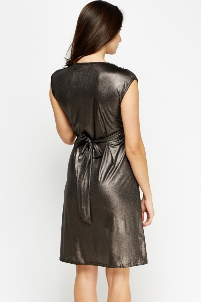 Ruched Knot Metallic Dress