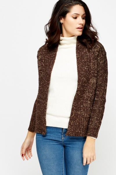 Speckled Knit Open Cardigan