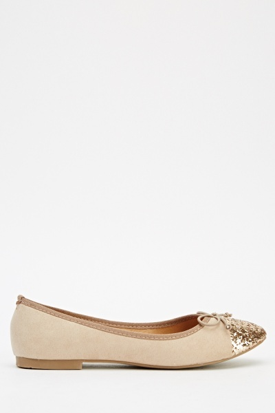 Glittered Contrast Ballet Pumps
