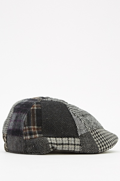 Mixed Houndstooth Patch Flat Cap