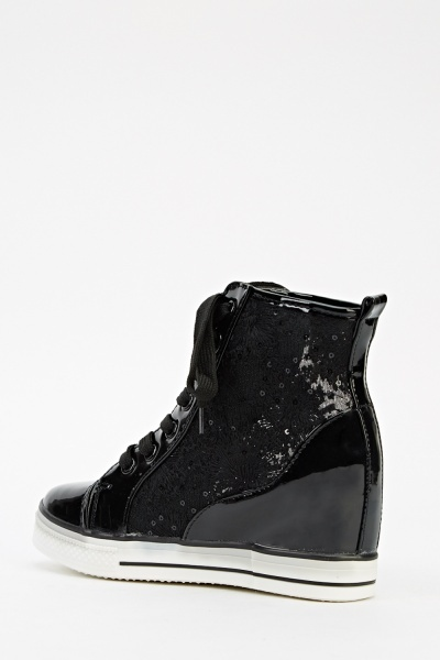 Sequin Mesh Wedge Trainers