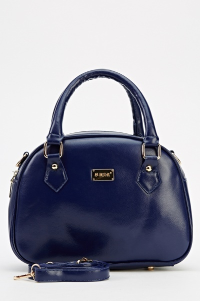 Small Faux Leather Navy Handbag