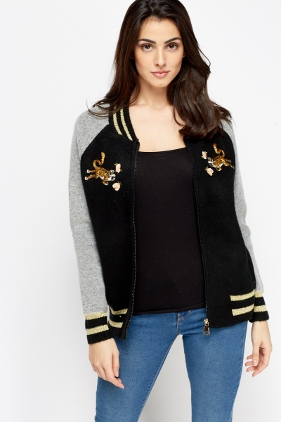 Contrast Tiger Zipped Jacket