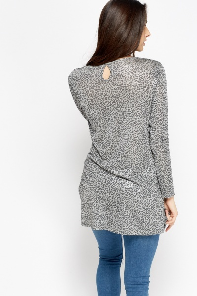 Metallic Leopard Print Wrap Top