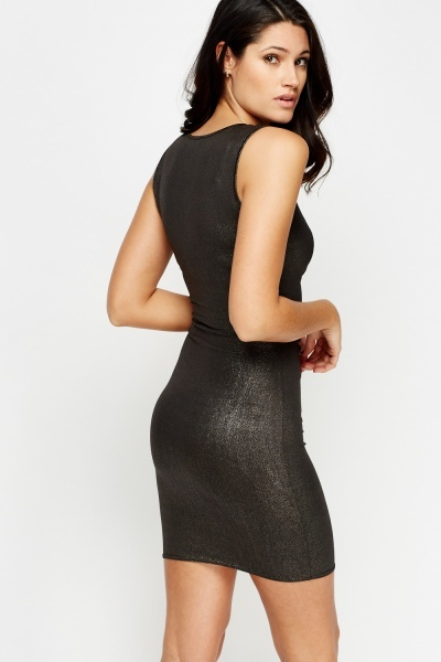 Shimmer Ruched Wrap Dress
