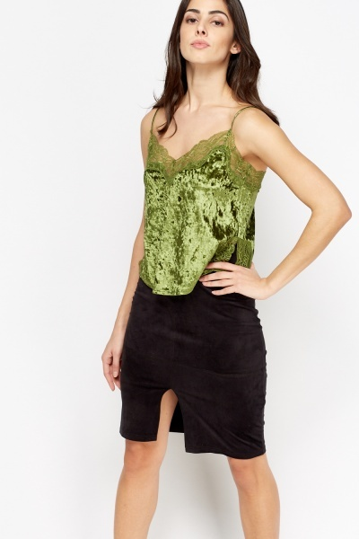 Image of Velveteen Lace Trim Cami