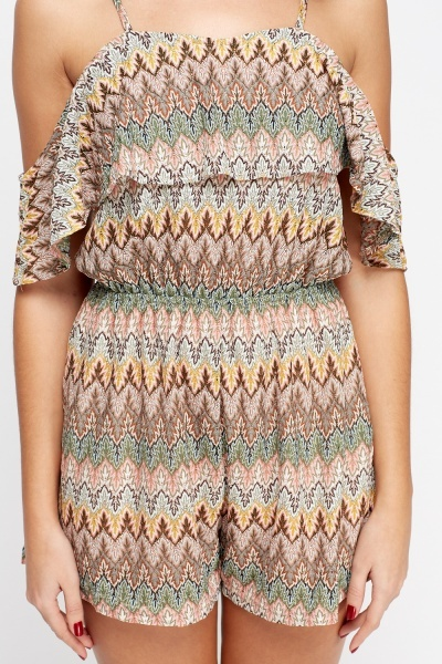 Aztec Flare Cold Shoulder Playsuit