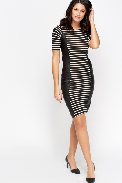 Contrast Stripe Midi Dress