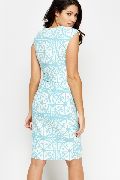 Printed Pencil Midi Dress