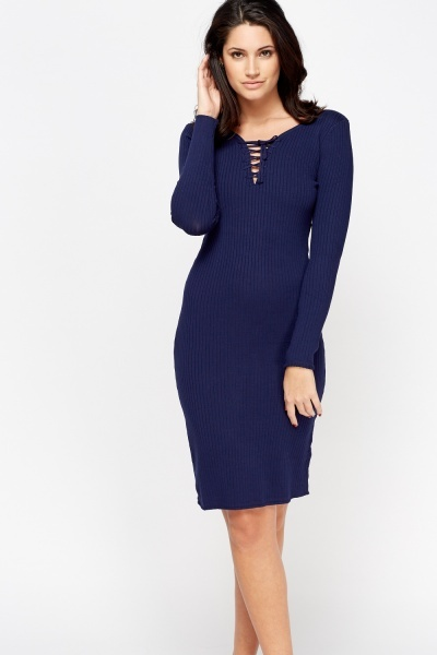 Ribbed Tied Midi Dress