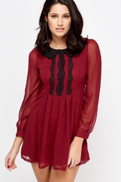 Image of Sheer Collar Contrast Petite Dress