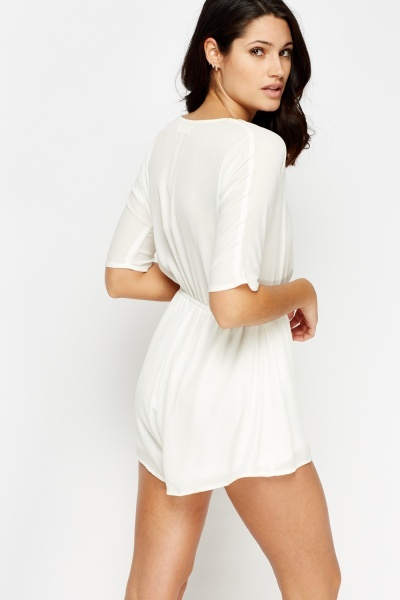 White Wrap Sheer Cowl Neck Playsuit