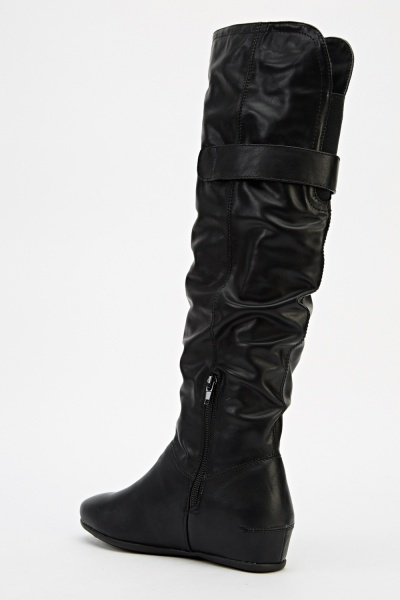 Buckle Side Knee High Wedge Boots