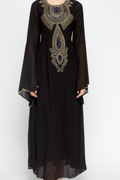 Flare Sleeve Encrusted Maxi Dress